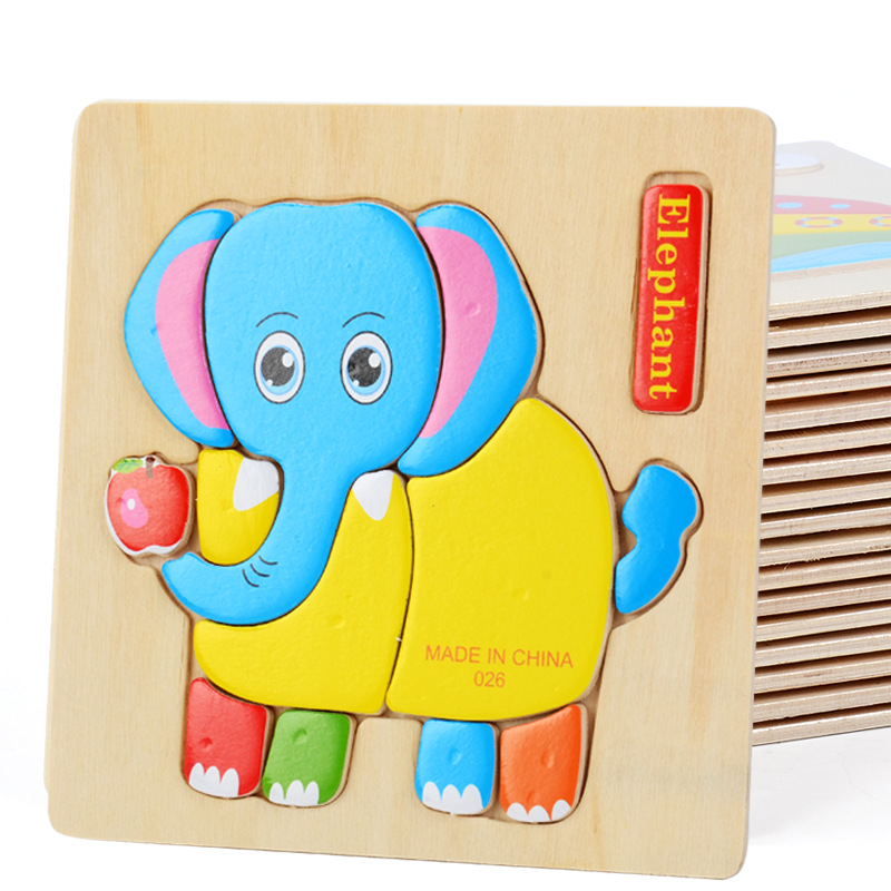 1 Random Delivery Wooden Three-dimensional Jigsaw Puzzle Infant Child Puzzle Early Education Toy Animal Fruit Puzzle Toy