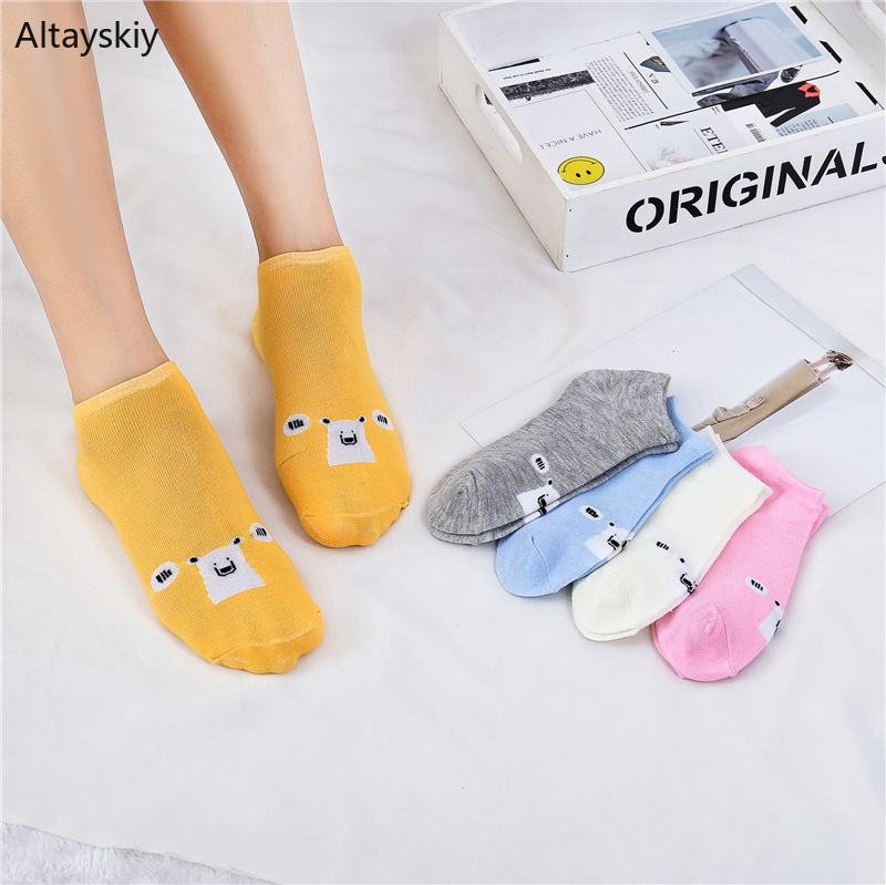 Socks Women Kawaii Animal Cartoon Printed Breathable Deodorant Womens Short Sock Korean Style All-match Simple Trendy Daily Chic
