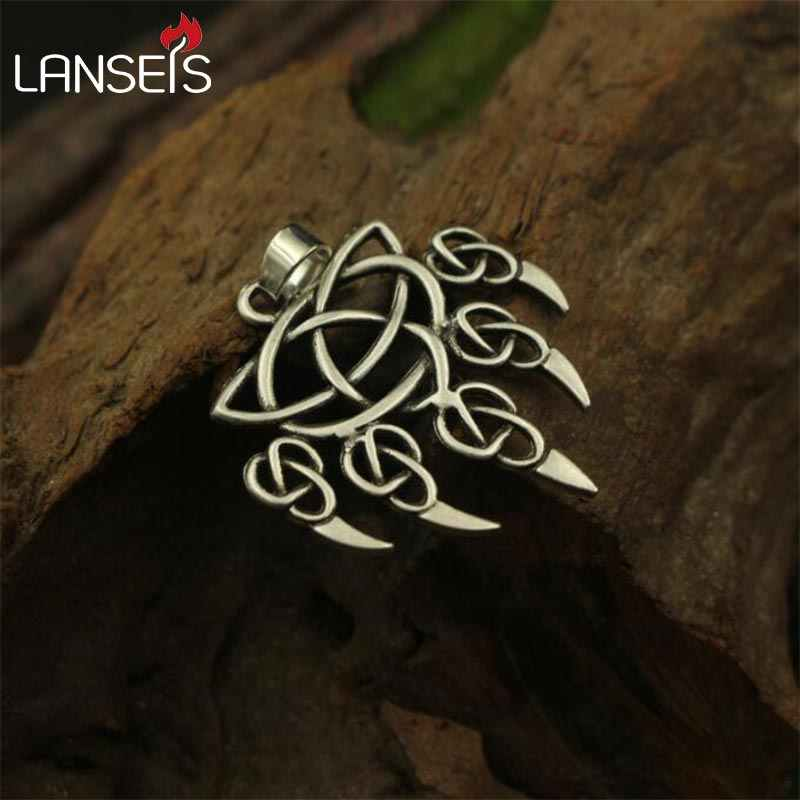 lanseis 1pcs viking bear paw pendant men necklace celt bear paw