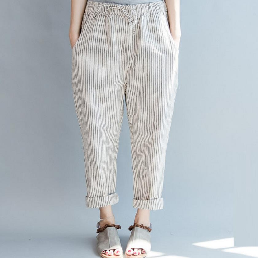 new stripe elastic waist casual large size harem pants women loose cotton linen pants