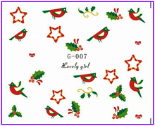 Water  Stickers Nail Decals Stickers Water Transfers Decal  Xmas Chrismas TREE DEER SOCKS SNOW MAN BIRDS G007-012