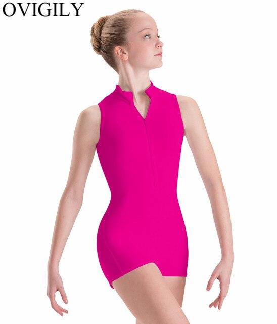 4a5e8879a6d3 OVIGILY Front Zip Adult Black Tank Gymnastics Biketard Ballet Dancewear  Women Spandex Mock Neck Sleeveless Leotard Short Unitard