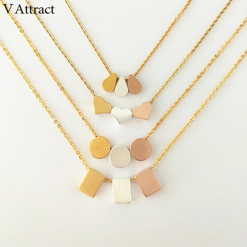 V Attract Boho Jewelry Stainless Steel Silver Chain Water Drop Pendant Necklace Women Graduation Gift Rose Gold Choker Colar