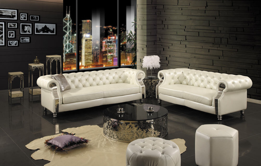 White Chesterfield 3 Seater Sofa Bailey Leather Effect Bed 2015 New Modern Living Room Real ...