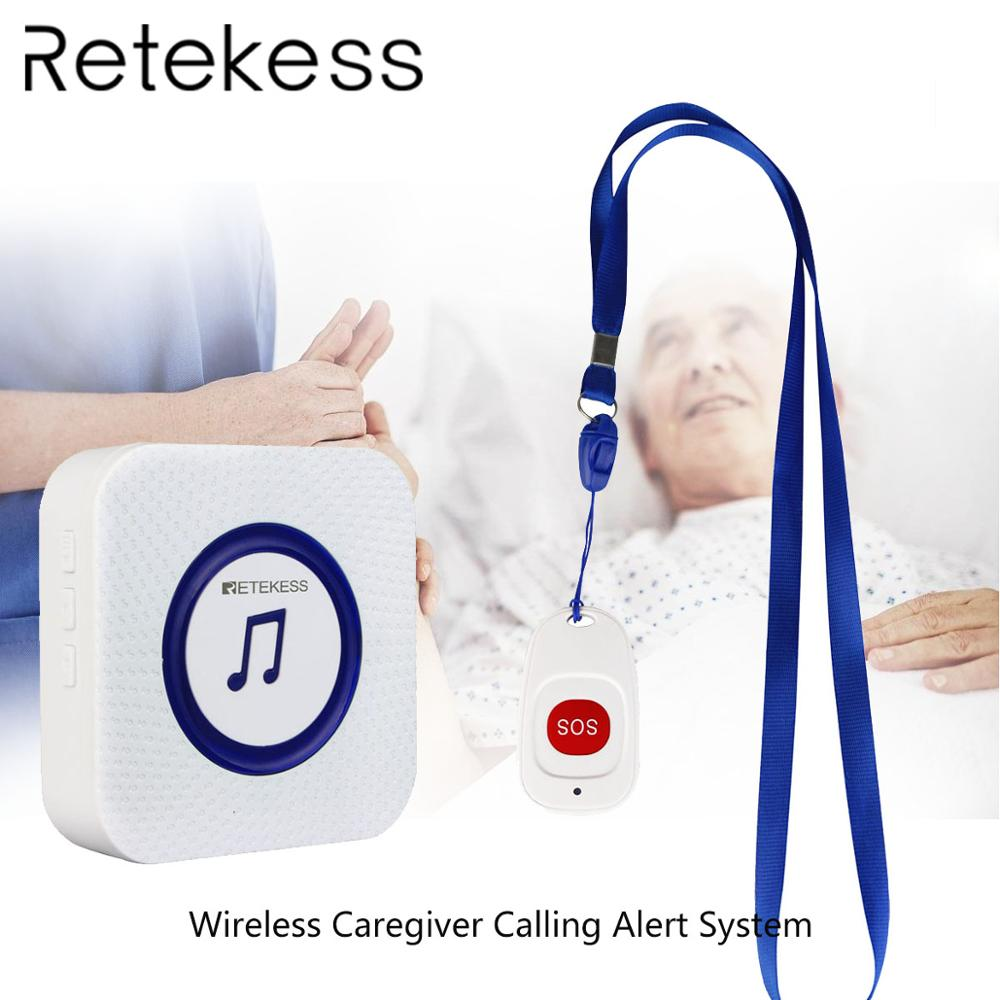 Retekess Wireless Caregiver Calling Alert System Elderly patient emergency Call SOS Button Receiver for Household Nursing Home in Pagers from Computer Office