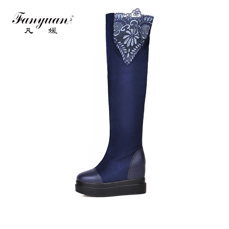 Fanyuan New Sexy Women Knee High Boots Beautiful Lace Round Toe Square Heels Boots Nice Black Shoes Woman Winter Snow Boots sexy pointy toe black brown cowhide stitching rabbit fur women knee high heels boots 2016 winter new hot sale female shoes