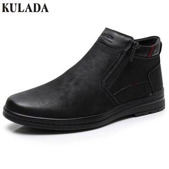 KULADA/Лидер продаж, ботинки из коровьей замши, мужские зимние ботильоны, мужские теплые зимние ботинки, ботинки с двойной молнией сбоку, Мужск...
