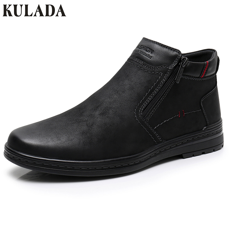 KULADA Hot Boots Men Cow Suede Men's Winter Ankle Boot Men Warmest Snow Boots Double Zipper Side Boot Men Casual Thick Fur Shoe