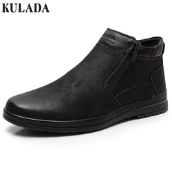 KULADA Hot Sale Boots Cow Suede Men's Winter Ankle Boot Men Warmest Snow Boots Double Zipper Side Boot Mens Casual Winter Shoes