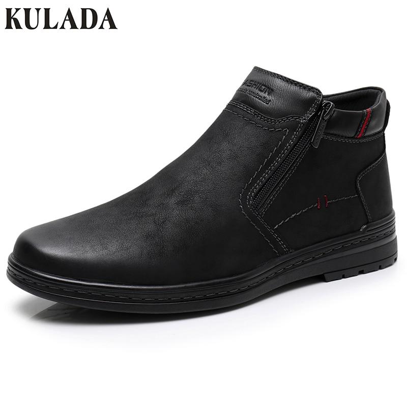 KULADA Hot Sale Boots Cow Suede Men's Winter Ankle Boot Men Warmest Snow Boots Double Zipper Side Boot Men Casual Thick fur Shoe