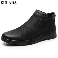 KULADA Hot Boots Men Cow Suede Men's Winter Ankle Boot Men Warmest Snow Boots Double Zipper Side Boot Men Casual Thick fur Shoe