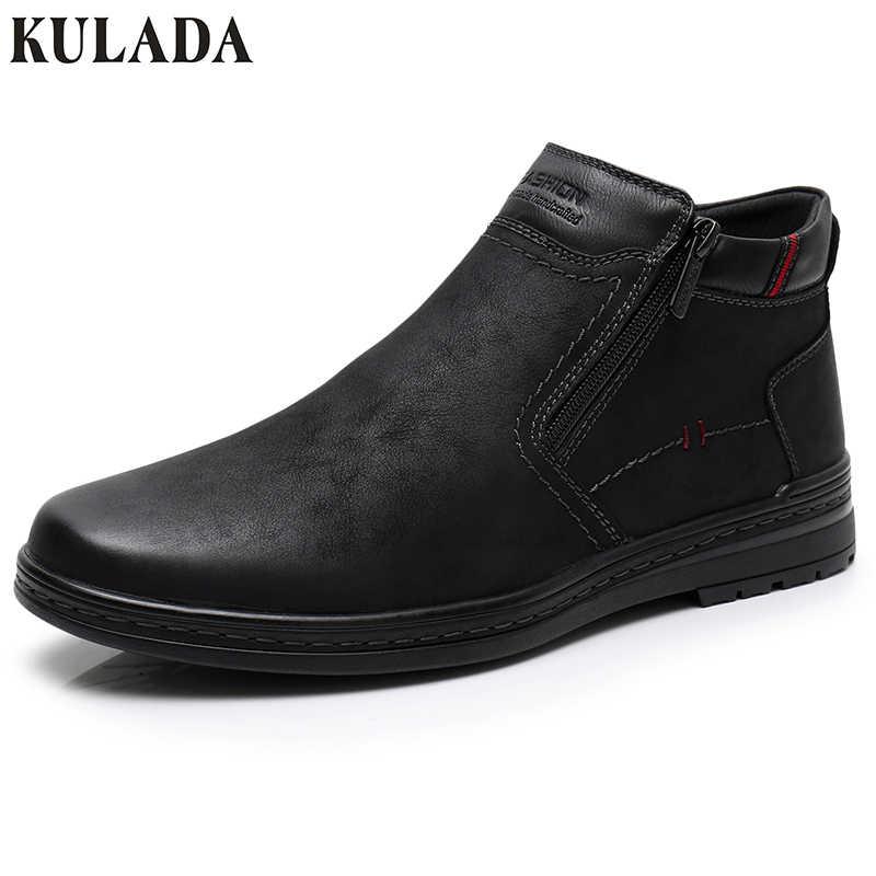 KULADA çizmeler erkek kış ayakkabı yarım çizmeler erkekler için en sıcak kar botları çift fermuarlı yan çizme erkekler rahat kalın kürk ayakkabı
