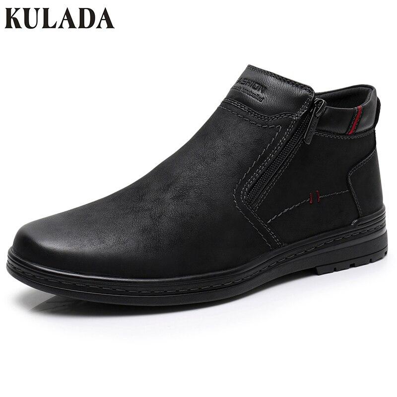 KULADA offre spéciale bottes vache daim hommes hiver bottine hommes les plus chaudes bottes de neige Double fermeture éclair côté botte décontracté épais fourrure chaussure