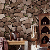 Thick Rustic Natural Pvc 3d Stacked Stone Wallpaper Wall Decorative For Bar Imitation Textured Faux Stone