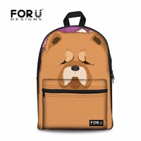 FORUDESIGNS Cute Chow Dog Printing Backpack Women Canvas Shoulder Backpacks Feminine Large Laptop Bagpack for School Teen Girls