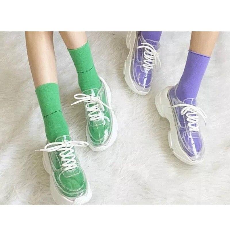 GCYFWJ Summer Transparent Pvc Trend Women Sneakers Ladies Lace Up Platform Jelly Shoes Woman Fashion Casual Shoes Ladies Shoes w Damskie buty z gumową podeszwą od Buty na  Grupa 3