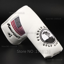 Ny USA American No.1 Flag Long LifeTree Hvit Golf Putter Cover Headcover Velcro Closure for Blade Golf Putter Gratis frakt