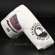New USA American No.1 Flag Long LifeTree White Golf Putter Cover Headcover Closure for Blade Golf Putter Free Shipping