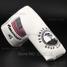 Nova eua americano no.1 bandeira longo lifetree branco golf putter capa headcover encerramento para lâmina taco de golfe frete grátis