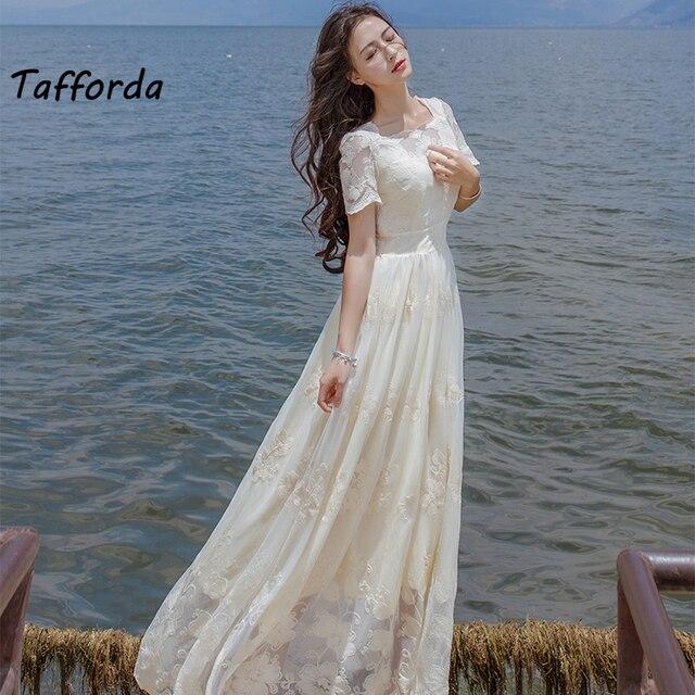 Tafforda Топы корректирующие 2017 выстрел высокое качество тяжелых Вышивка платье с цветочным принтом платье-рубашка и белый бежевый белый фея Женская одежда