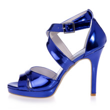 High quality glossy PU sandals woman shoes metallic colors thin heel platform party prom cocktail silver gold blue sparkling