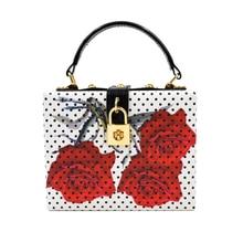 Rose Flower Women Evening Bags Designer Clutch Floral Print Handbags Luxury PU Leather Tote Box Women Famous Brand Crossbody Bag