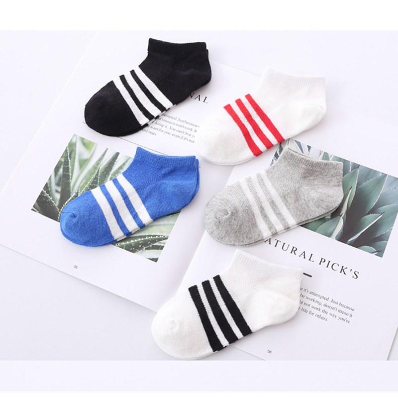 5pairs/lot Spring Summer Children's Stripe Cartioon Socks Boys Girls Pure Cotton Socks