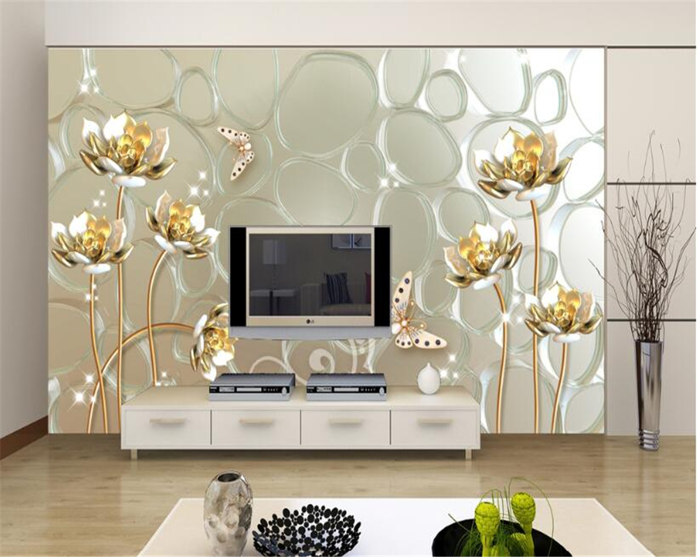 Beibehang Custom Wallpaper Living Room Bedroom Mural Gold Rose Jewelry Jewelry Wall Background Wall 3D Wallpaper papel de parede beibehang beautiful rose sea living room 3d flooring tiles papel de parede para quarto photo wall mural wallpaper roll walls 3d