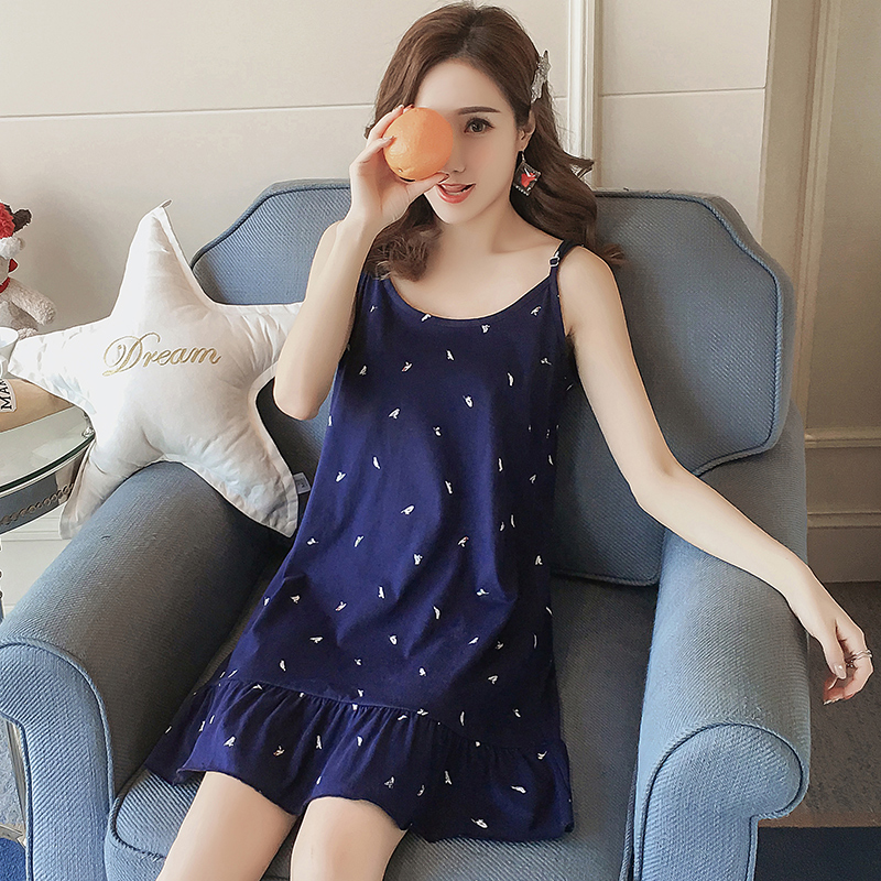 Summer   Nightgowns     Sleepshirts   Ladies Cartoon Sleepwear Night Dress Cotton Nightdress for Women Nightwear Lingerie