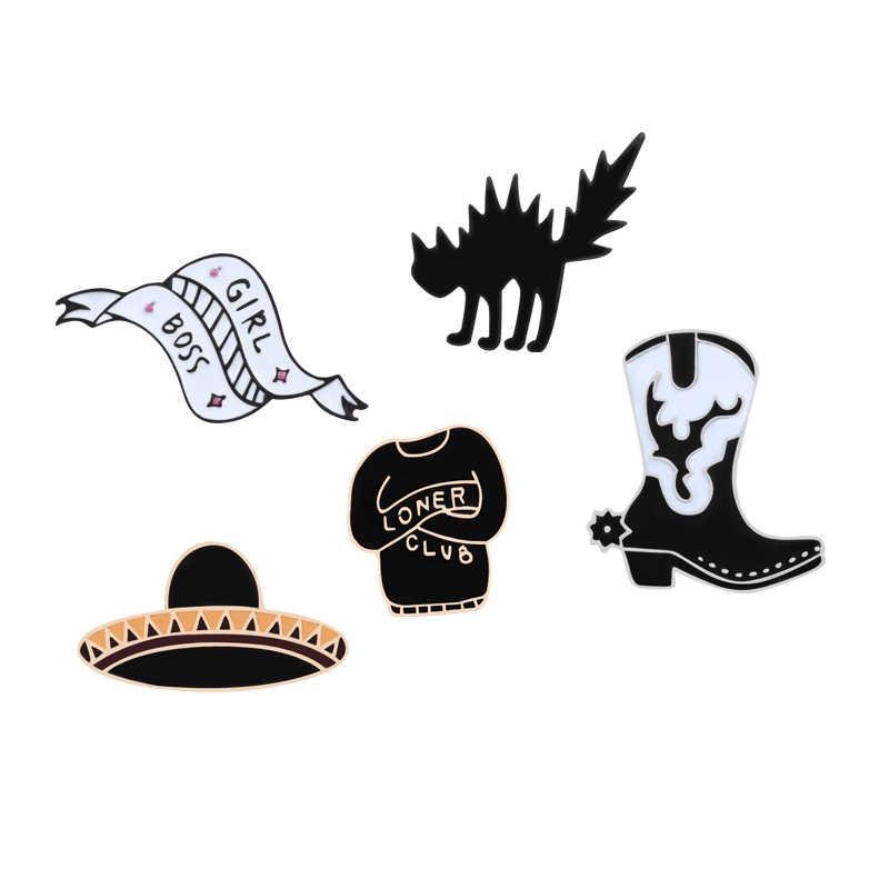 Hekserij Zwarte Punk Pin UFO Thriller Kat Laarzen Baseball Uniform Lint Broches Voor Vrouwen Muts Sjaal Emaille Pin Kostuum Sieraden