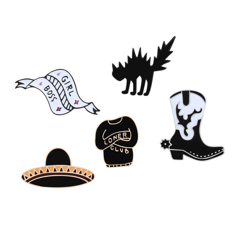 السحر الأسود الشرير دبوس UFO تشويق القط الأحذية زي بيسبول الشريط دبابيس للنساء قبعة وشاح المينا دبوس المجوهرات