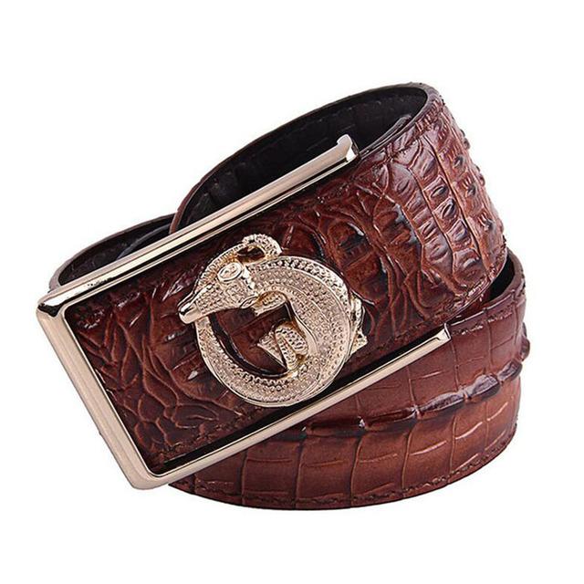 Himunu 100% Cinturón de cuero de Vaca de Grano Del Cocodrilo de Cuero Correas para Los Hombres de Lujo de Aleación de Hebilla de Cinturón de Hombre de Negocios de Café Negro Marrón Moda