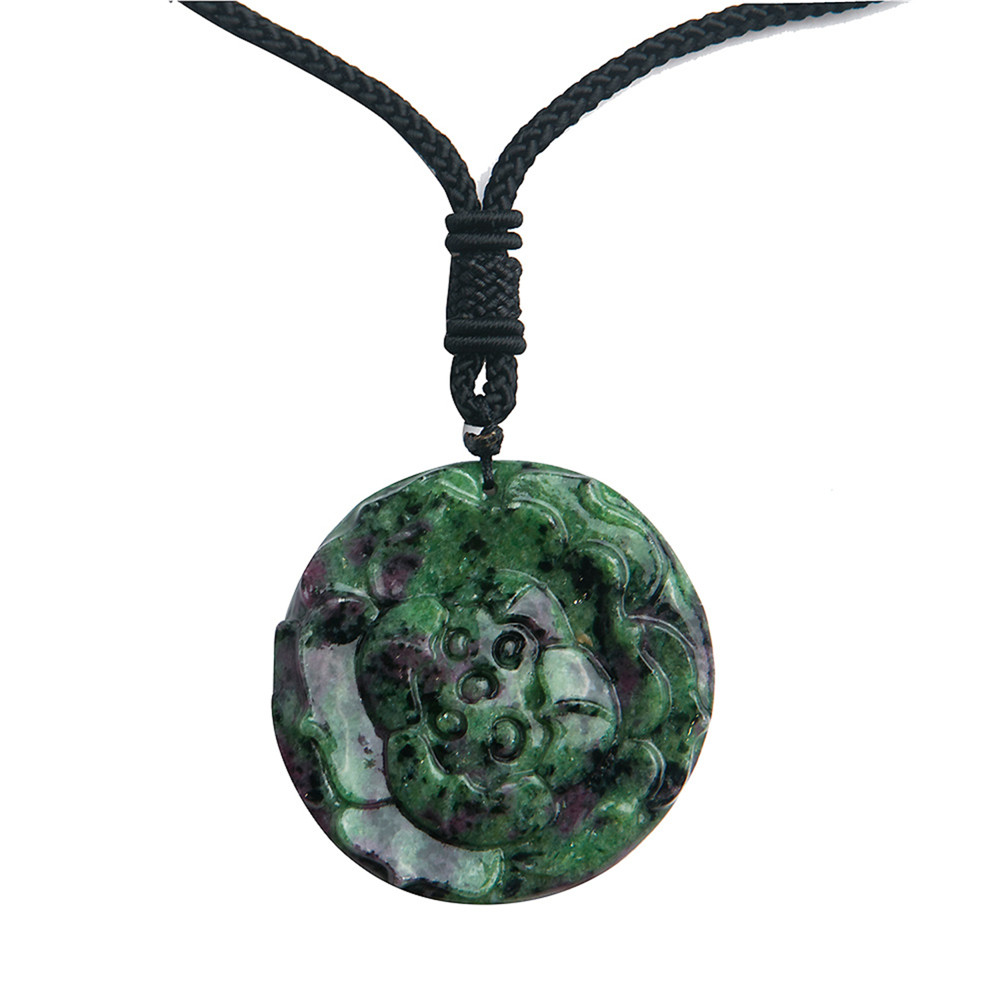 Natural Stone And Zoisite Jewelry Pendant Fashion Green Red Crystal Gem Carved Charm Pendants Necklace For Men Female Women