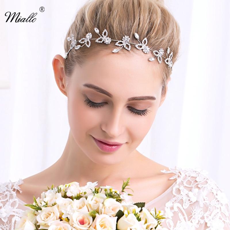 Miallo Special Offer Headbands Trendy Zinc Alloy Plant Bridal Hair Vine Crystal Tiara Crown Wedding Comb Headpiece HS-J4222