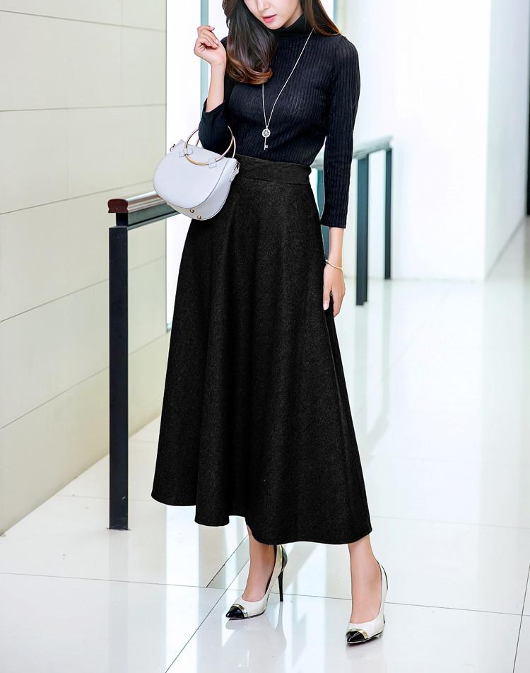 fa30780a20 female lady skirts autumn winter long warm skirt plus size high ...