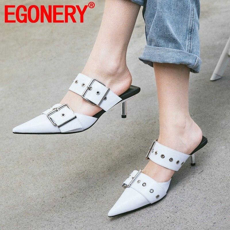 EGONERY 女性の靴夏の新ファッションセクシーな高品質本革の女性スリッパ外ハイヒールバックルの女性の靴  グループ上の 靴 からの スリッパ の中 1