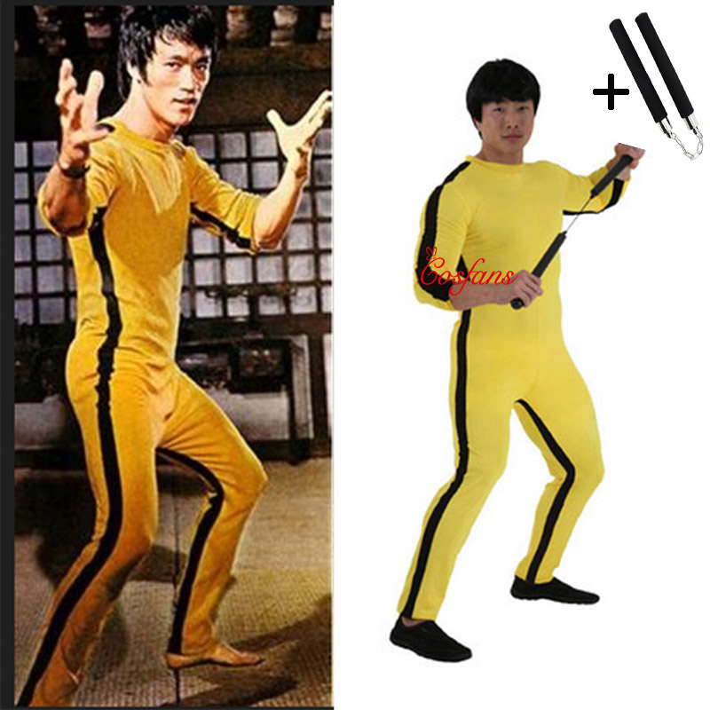 Unisex Adult Kids Bruce Lee Cosplay Jeet Kune Do Chinese Kung Fu Jumpsuit Cosplay Costume Zentai Suit And Nunchaku Game Of Death