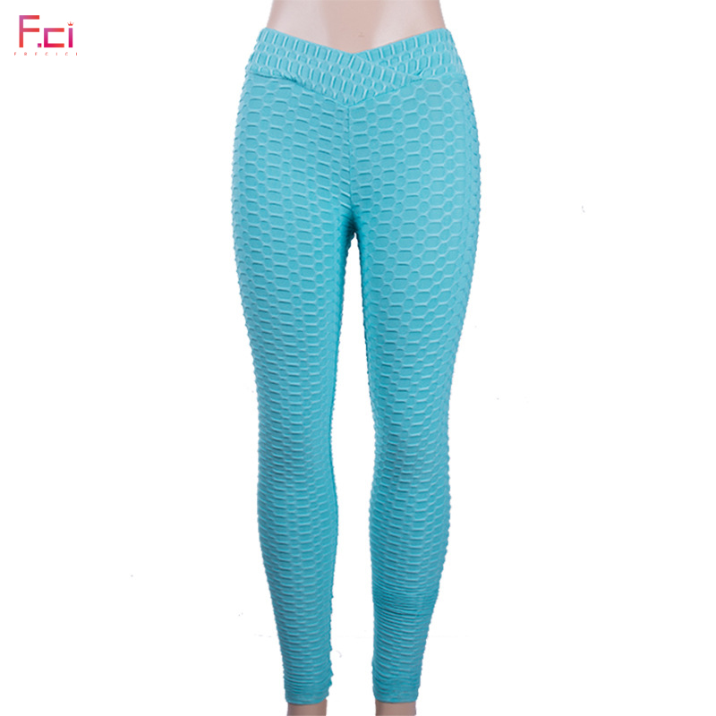 f93121bdc81 FRECICI Women Fashion Bubble Waffle Leggings V Shape Waistband Flaws  Textured Pants Scrunch Butt Pants Workout Sexy Leggings | Mikes Wholesale  Mart