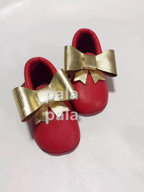 Envío de la nueva de bebé de Cuero genuino de calidad superior de oro arco mocasines franja soft sole zapatos niños toddler