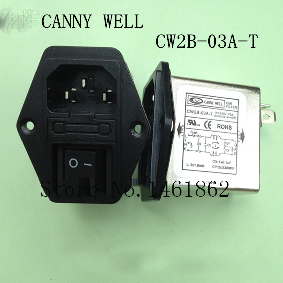 CW2B-03A-T 110-250V 3A EMI power filter socket three-in switch belt  Electrical Equipment cw15e 06a t emi power supply filter 110 250v 6a ac electrical equipment adapters power supplies