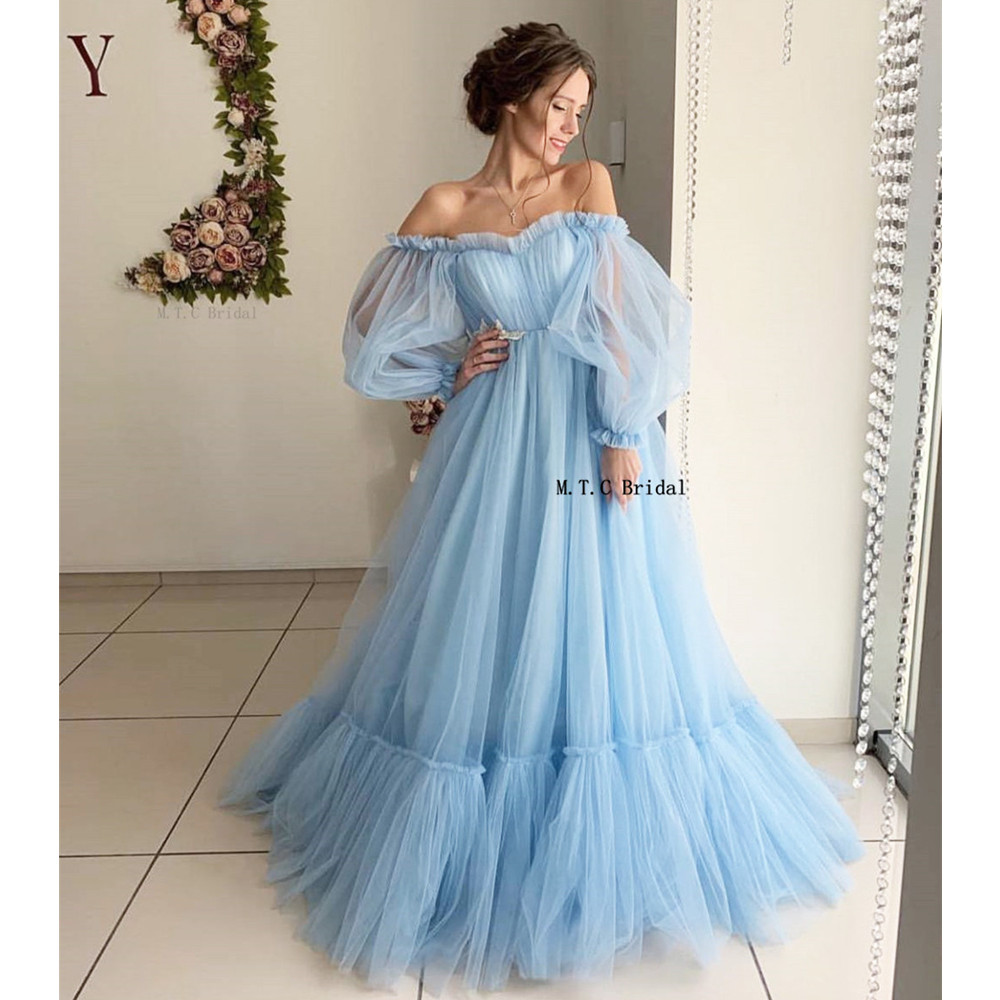 Mint Blue Long Sleeve Arabic Prom Dresses Pleat Tulle Off The Shoulder A Line Long Formal