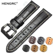 HENGRC Genuine Leather Watchbands Men Thick Watch Band Strap 22mm 24mm Brown Black Wristwatches Belt Accessories цена