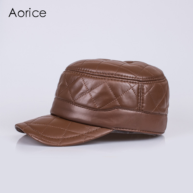Aorice Genuine Leather Baseball Cap Warm Hat Brand New Men's Real Leather Adjustable Army Caps Outdoor Hats 2 Colors HL031 adjustable outdoor keep warm earmuff button baseball cap