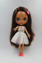 Black Blythe Doll Joint Body Straight Dark Brown Hair Free Gift