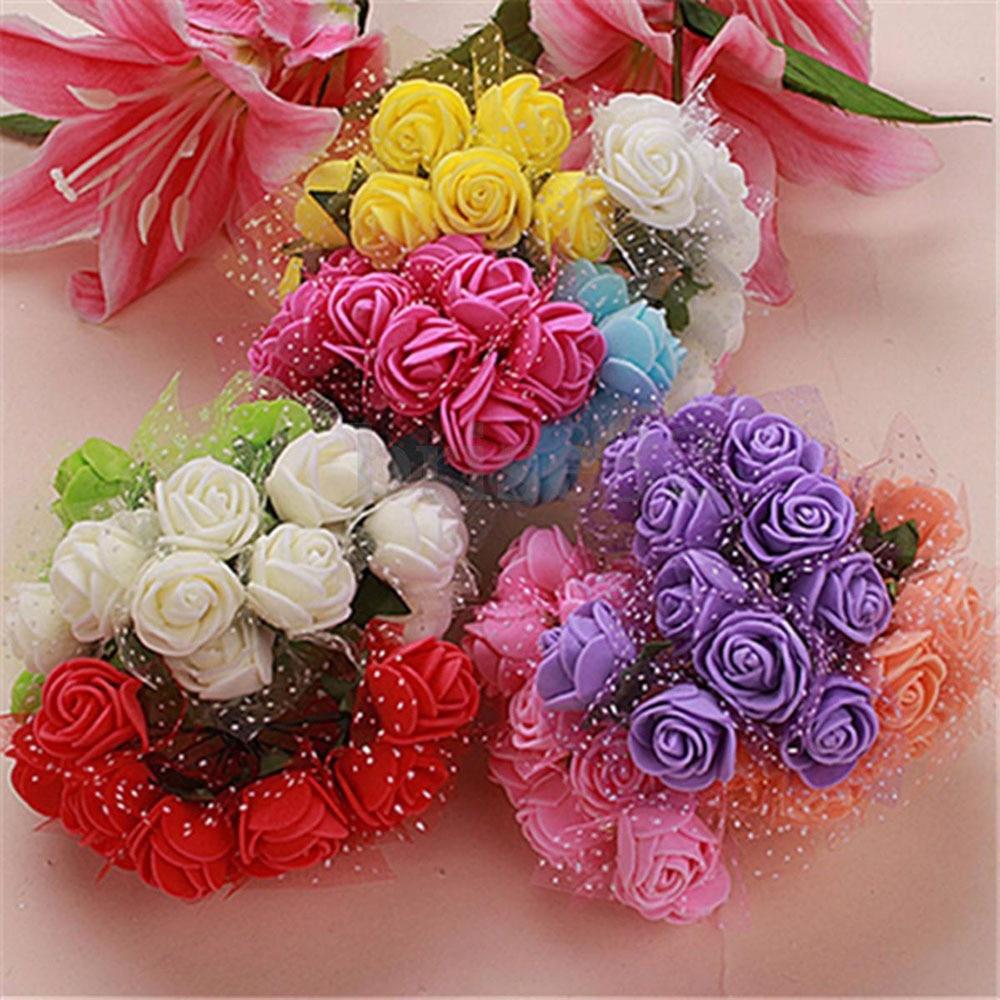 12pcs lot Simulation Mini Rose Artificial flower foam flower diy flower ball garland headdress Wedding decoration Bridal Flowers