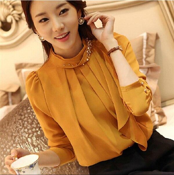 2015 Spring New Korean Women Fashion Beaded Collar Blusas Femininas Long-Sleeved Shirt Loose Casual Camisa Chiffon Blouse - Mradio store