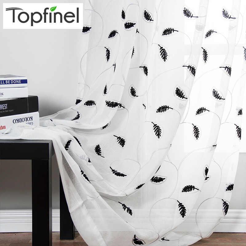 Topfinel Blätter Muster Bestickt Weiß Sheer Vorhänge Fenster Tüll Vorhänge für Wohnzimmer Schlafzimmer Küche Vorhang Vorhänge