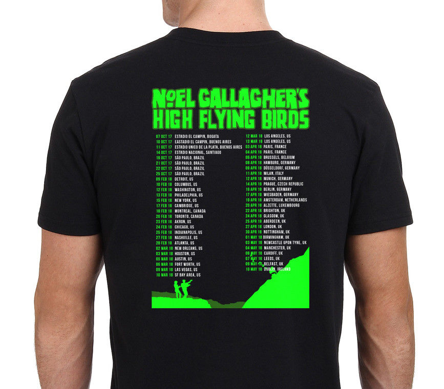 Noel gallaghers высокого полета Товары для птиц Тур 2017 18 т рубашка мужская черная Размеры: s xxl