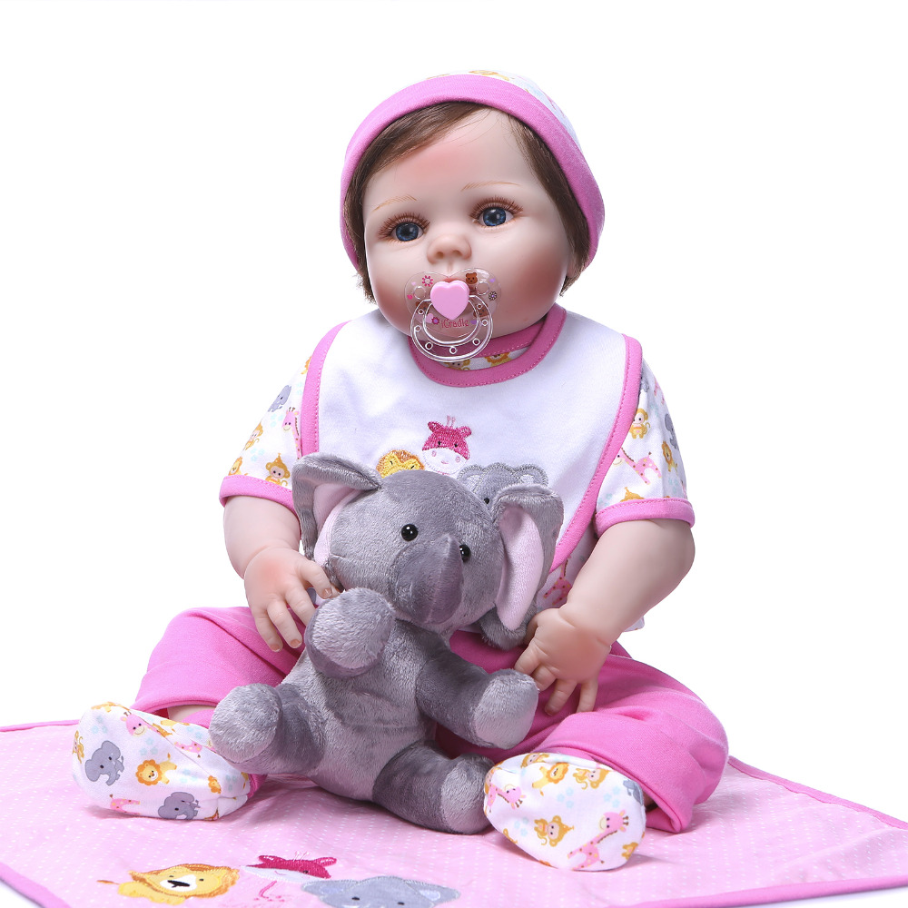 Nicery 22inch 55cm Bebe Reborn Doll Hard Silicone Boy Girl Toy Reborn Baby Doll Gift for Children Pink Blanket Elephant Doll nicery 18inch 45cm reborn baby doll magnetic mouth soft silicone lifelike girl toy gift for children christmas pink hat close