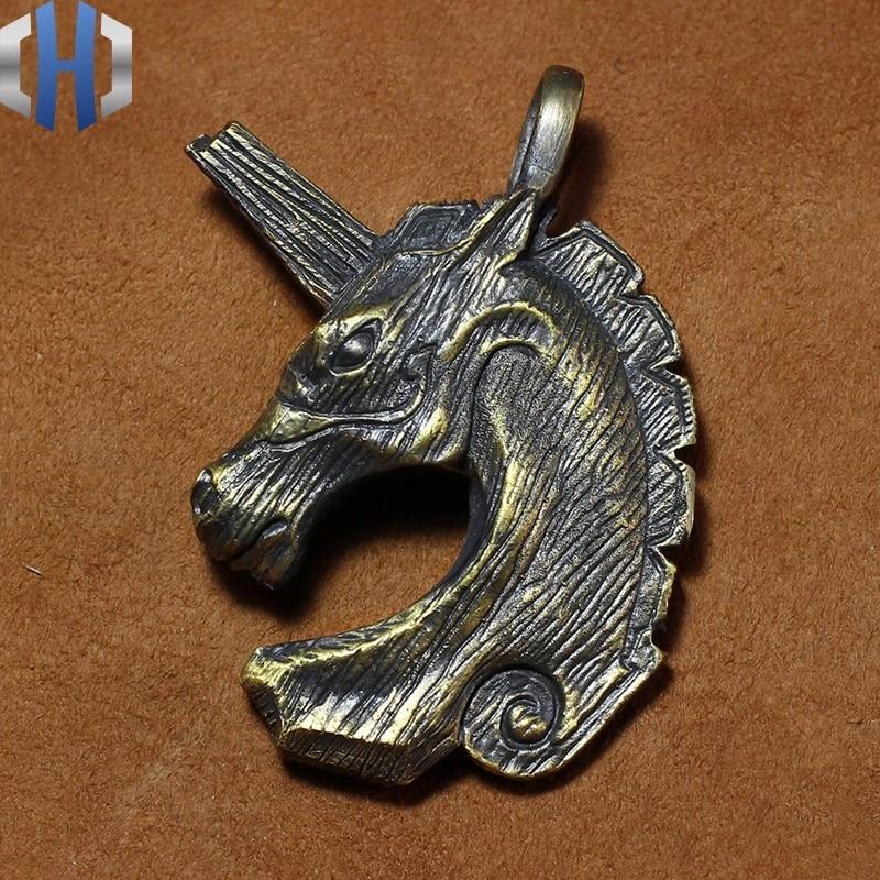 Original Handmade Retro Woodgrain Unicorn Trojan Brass Pendant Handle Key Custom Necklace